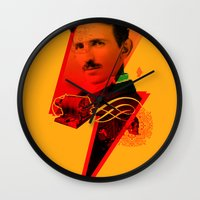 tesla Wall Clocks featuring Tesla by Chincol