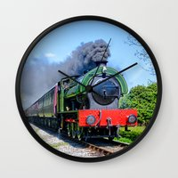 phil jones Wall Clocks featuring Lord Phil steam train by PICSL8