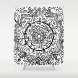 Black Flower Mandala Shower Curtain