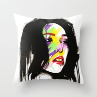 leia Throw Pillows featuring Leia by Robert Ekblom