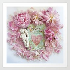 Pink Shabby Chic Peony Love Heart Floral Prints - Shabby Chic Peony Home Decor Art Print
