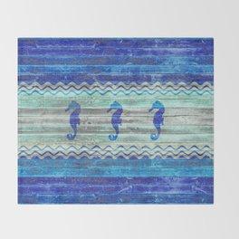 Rustic Navy Blue Coastal Decor Seahorses Throw Blanket