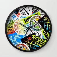 sticker Wall Clocks featuring Sticker Collage by Chris Klemens
