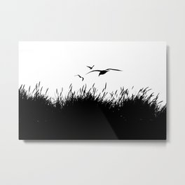 Seagulls Flying over Sand Dunes Metal Print