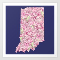 Indiana in Flowers Art Print