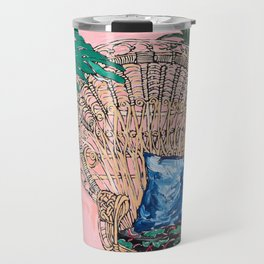 Peacock Chair in Pink Jungle Interior Travel Mug