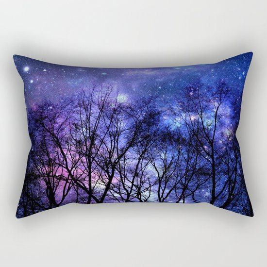 Black Trees purple blue SPACE Rectangular Pillow