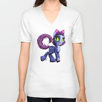 cheshire cat V-neck T-shirts featuring Cheshire by Jolie Bonnette Art