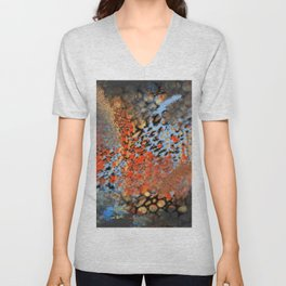 Blue, Orange, Black, Explosion Abstract Unisex V-Neck