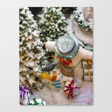 Can i open it now daddy?(Snowman family) Canvas Print