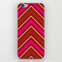 Modern Diagonal Chevron Stripes in Shades of Red and Pink iPhone Skin