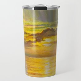 Golden Sunset Sailboats Travel Mug