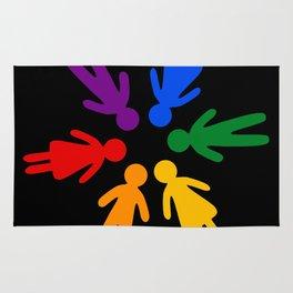Rainbow people circle Rug