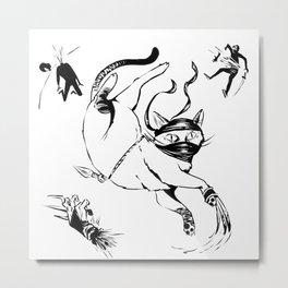 Ninja Cat Metal Print