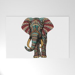 Ornate Elephant (Color Version) Welcome Mat