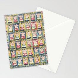 Sumo Wrestlers Japanese Vintage Print Stationery Cards