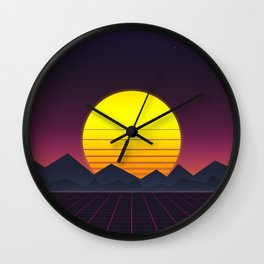 Vaporwave\\Mountain Wall Clock