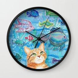 Cat and Fish Wall Clock