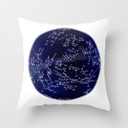 French December Star Map in Deep Navy & Black, Astronomy, Constellation, Celestial Throw Pillow