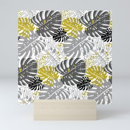 modern pattern with monstera leaves in monochrome shades Mini Art Print