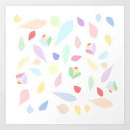 Colorful pastel leaves Art Print