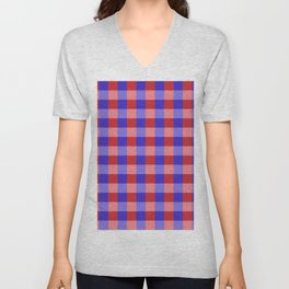 Red Blue and Pink Pretty Check Pattern Unisex V-Neck