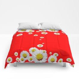 CHINESE RED WHITE DAISIES MODERN ART Comforters