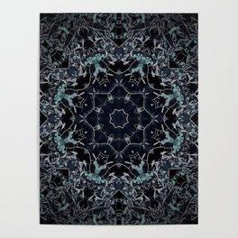Dark Mandala Snow Flake Poster