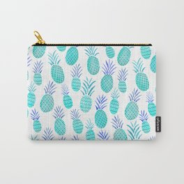 Pineapple Watercolor Illustration in Blue Carry-All Pouch