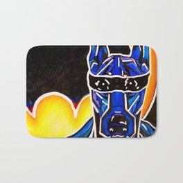 Dobie Bat man Original Design Painting Dog Pet Doberman Pinscher Superhero Hero Super Black Yellow Bath Mat