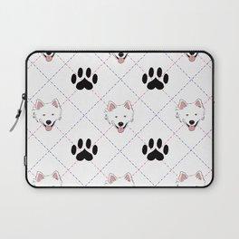 American Eskimo Paw Print Pattern Laptop Sleeve