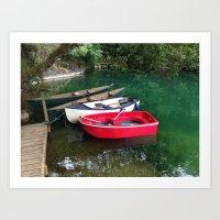 boats in a fishing lake Art Print