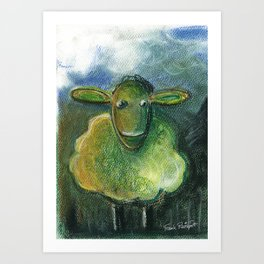 Sheep For Children Pastel Chalk Drawing Art Print