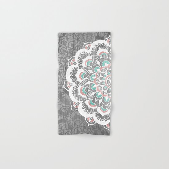Pastel Floral Medallion on Faded Silver Wood Hand & Bath Towel