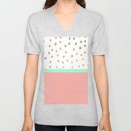 Coral teal color block faux gold foil polka dots pattern Unisex V-Neck