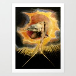 """William Blake """"Urizen depicted in Blake's watercoloured etching The Ancient of Days."""" Art Print"""