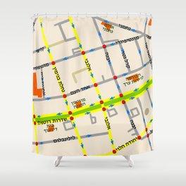 Tel Aviv map - Rothschild Blvd. Hebrew Shower Curtain