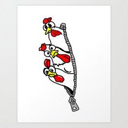 Zipper Chickens Art Print