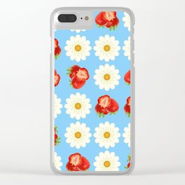 Strawberries and daisies Clear iPhone Case