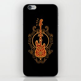 Intricate Red and Yellow Bass Guitar Design iPhone Skin