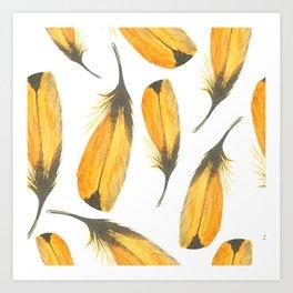 Canary Yellow Seamless Watercolour Feather Pattern Art Print