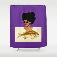 postcard Shower Curtains featuring Postcard Fashion in Purple by The Pairabirds