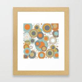 Retro Mid Century Modern Circles Geometric Bubbles Pattern Framed Art Print