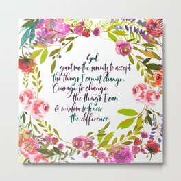 Floral serenity Prayer Metal Print