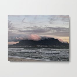 Table Mountain And Lion's Head Cape Town Sea Beach, South Africa Metal Print