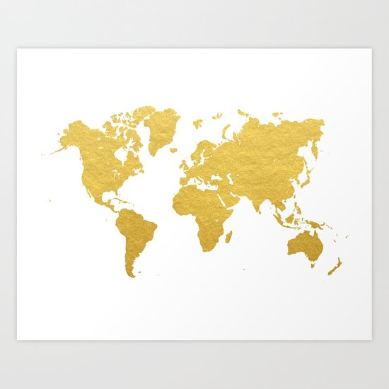 Gold World Map Art Print By BySamantha