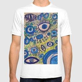 Evil eye,blue,decor,poster,wall art,artwork,painting,feminine,protection,greek,turkish,eyes,graffiti,sketch,cool,dope,pretty,gift,doodle,street art,present,nazar,jewish,buddhist,hindu,islam T-shirt