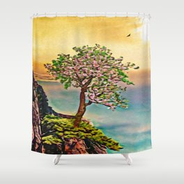 The Loneliest Tree On Mount Huangshan | Painting  Shower Curtain