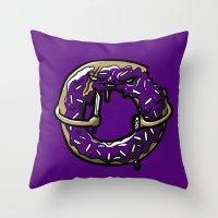 doughnut Throw Pillows featuring Hurtz Doughnut by Jonah Makes Artstuff