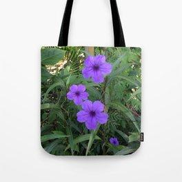 Purple flowers among green Tote Bag